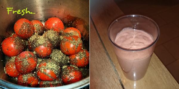 Verse tomatensaus en een smoothie