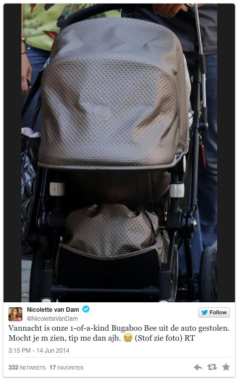 Zwangere Nicolette van Dam bestolen van kinderwagen