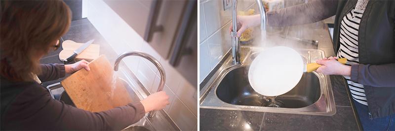 Pan schoonmaken met ene Quooker