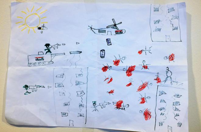 Vluchtelingen naar Nederland - Tekening 7-jarige jongen