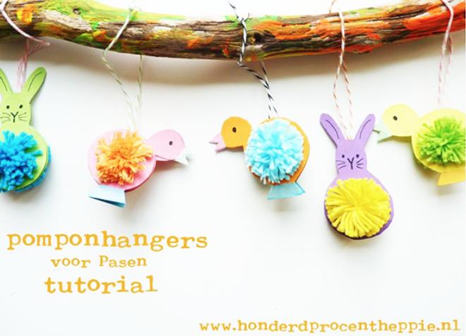Pomponhangers maken voor Pasen